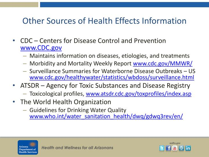 Other Sources of Health Effects Information