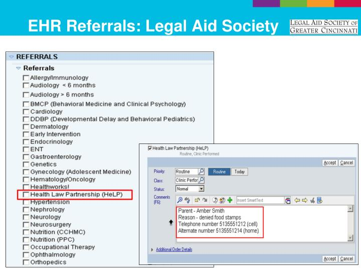 EHR Referrals: Legal Aid Society