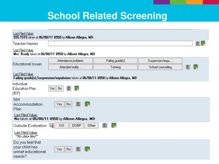 School Related Screening