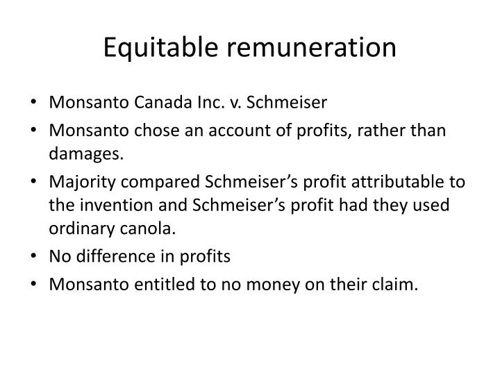 Equitable remuneration