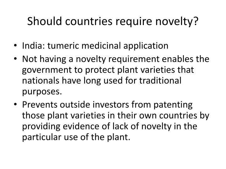 Should countries require novelty?
