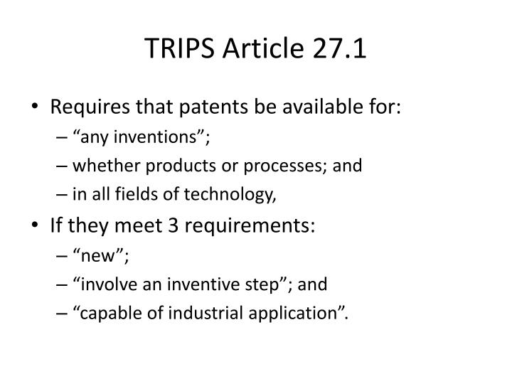 TRIPS Article 27.1