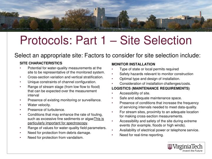 Protocols: Part 1 – Site Selection