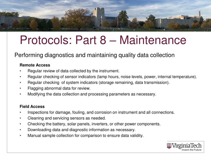 Protocols: Part 8 – Maintenance