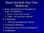 brains are built over time bottom up