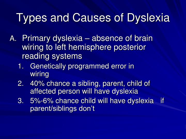 Types and Causes of Dyslexia
