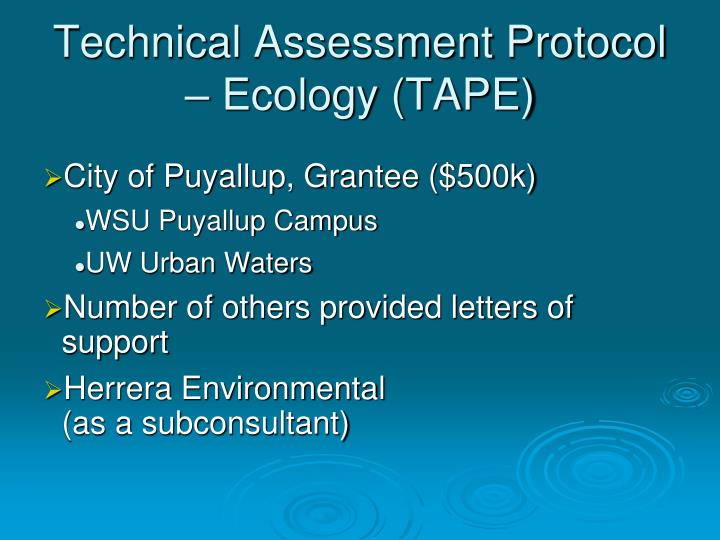 Technical Assessment Protocol – Ecology (TAPE)