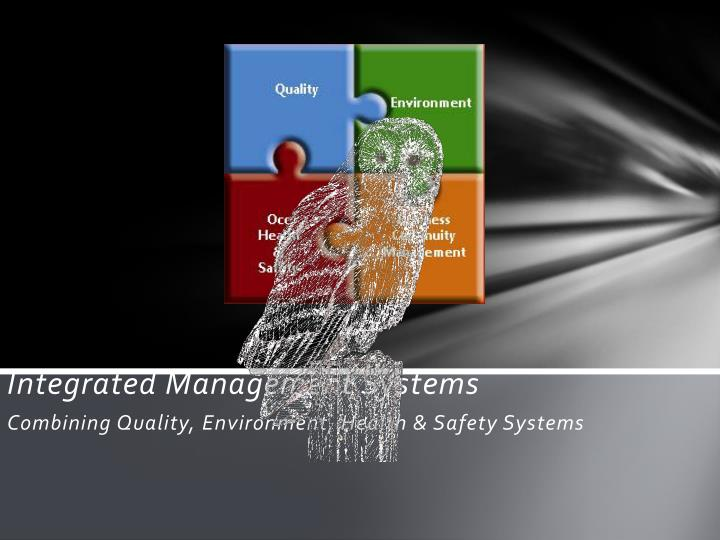 Integrated management systems combining quality environment health safety systems