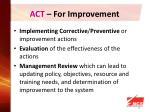 act for improvement