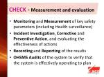 check measurement and evaluation