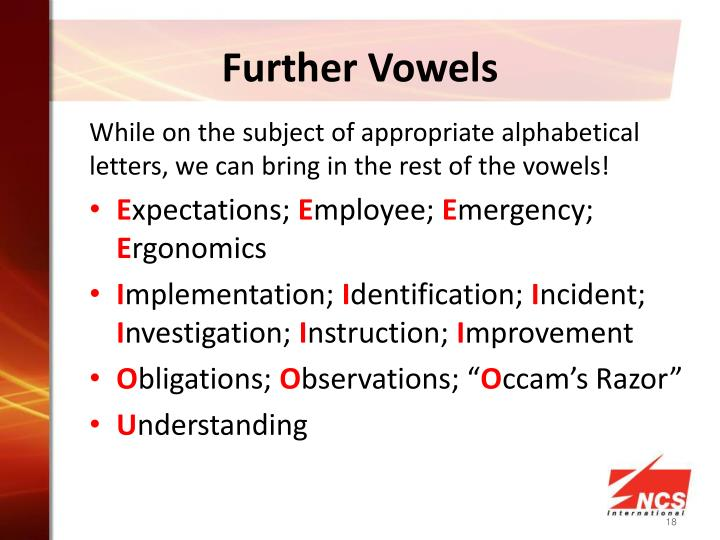 Further Vowels