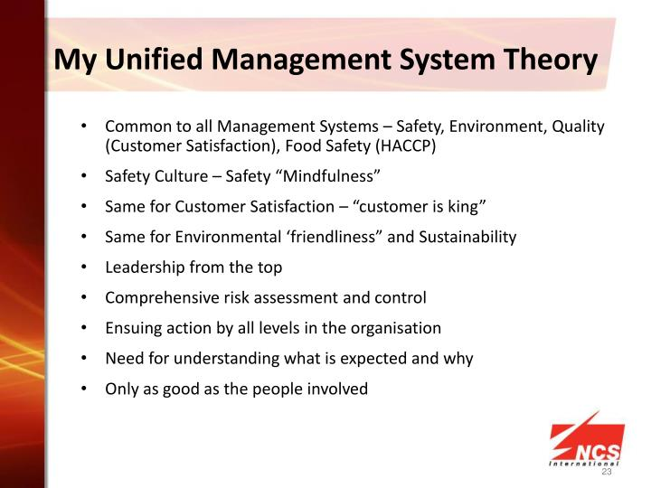 My Unified Management System Theory