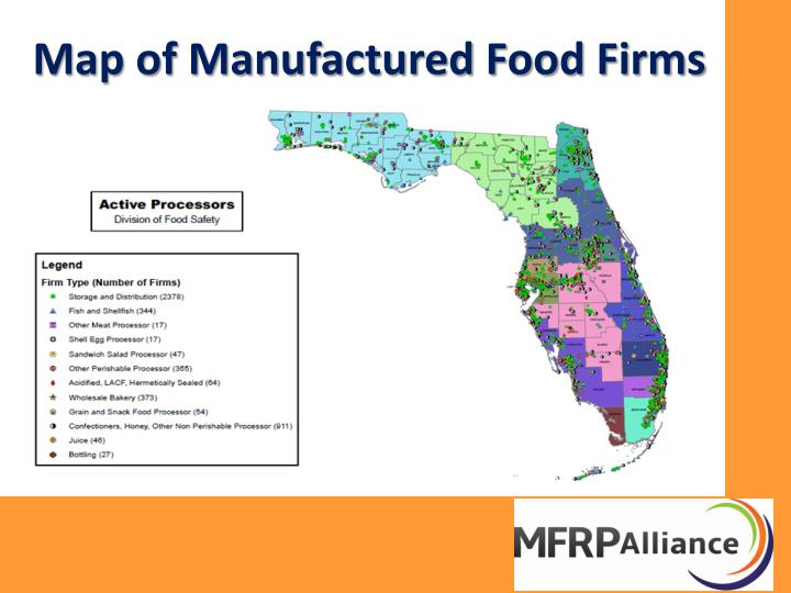 Map of Manufactured Food Firms