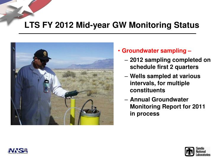 LTS FY 2012 Mid-year GW Monitoring Status