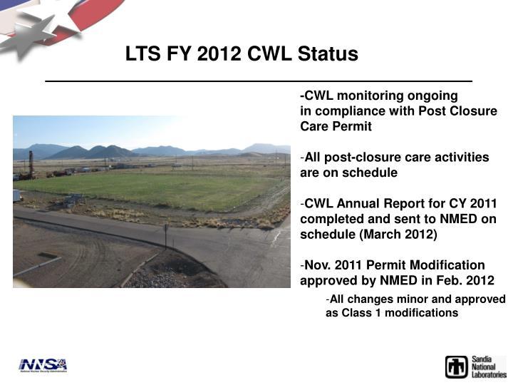 LTS FY 2012 CWL Status
