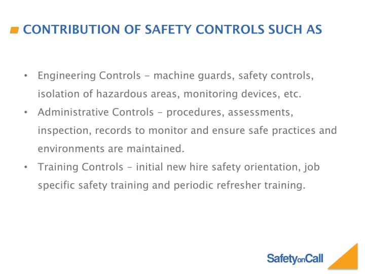 Contribution of Safety Controls such as