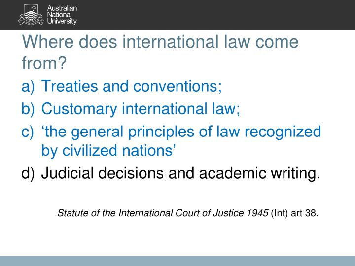 Where does international law come from?