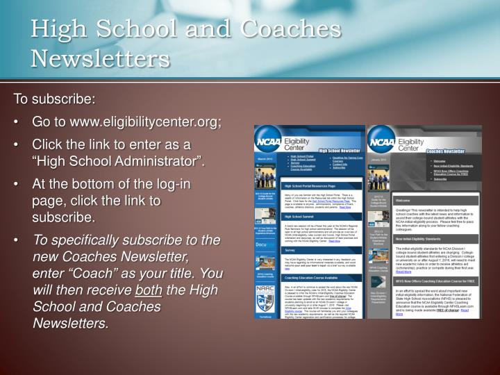 High School and Coaches Newsletters
