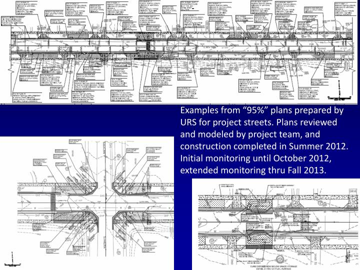"Examples from ""95%"" plans prepared by URS for project streets. Plans reviewed and modeled by project team, and construction completed in Summer 2012. Initial monitoring until October 2012, extended monitoring thru"