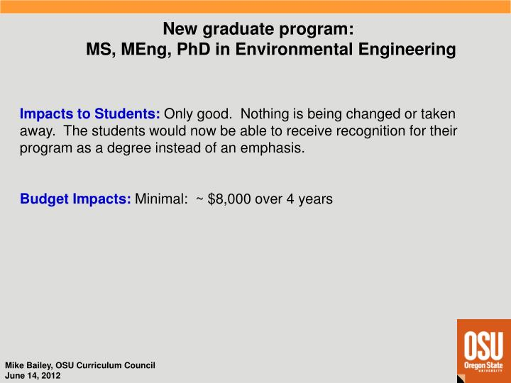 New graduate program: