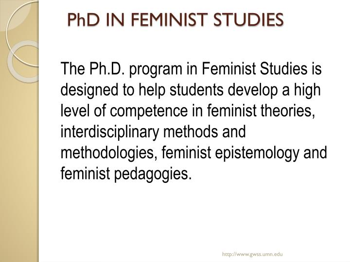 Phd in feminist studies