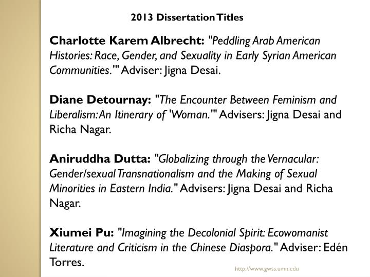 2013 Dissertation Titles