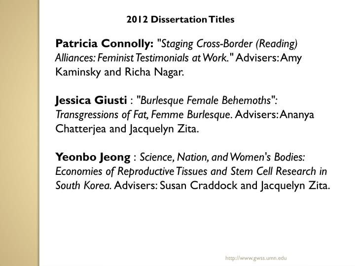 2012 Dissertation Titles