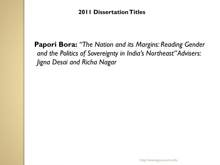 2011 Dissertation Titles