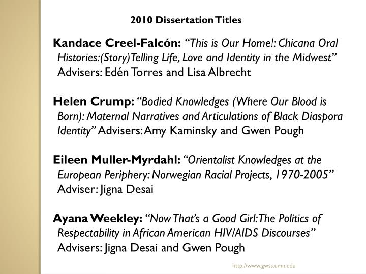 2010 Dissertation Titles