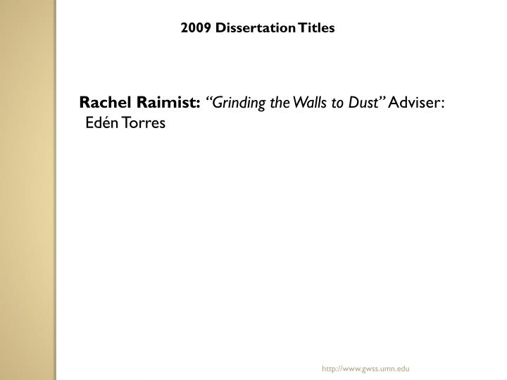 2009 Dissertation Titles