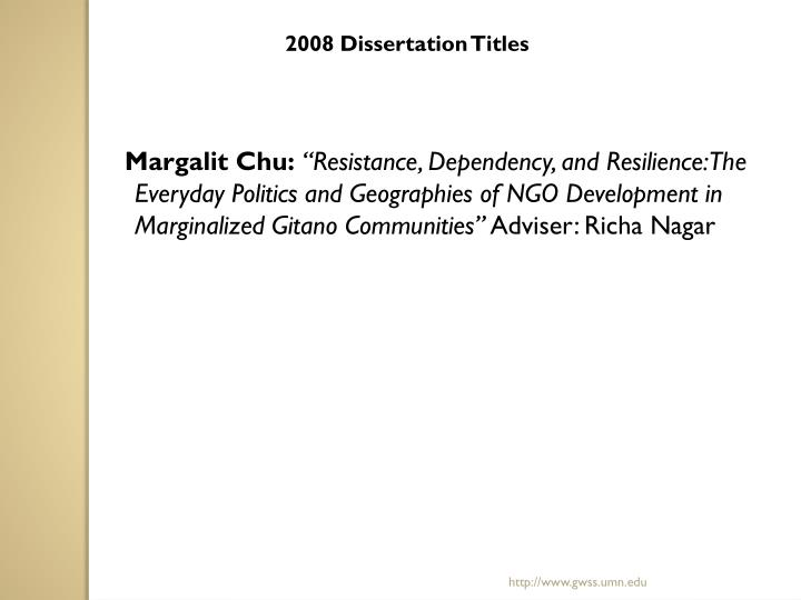 2008 Dissertation Titles