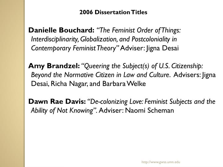 2006 Dissertation Titles