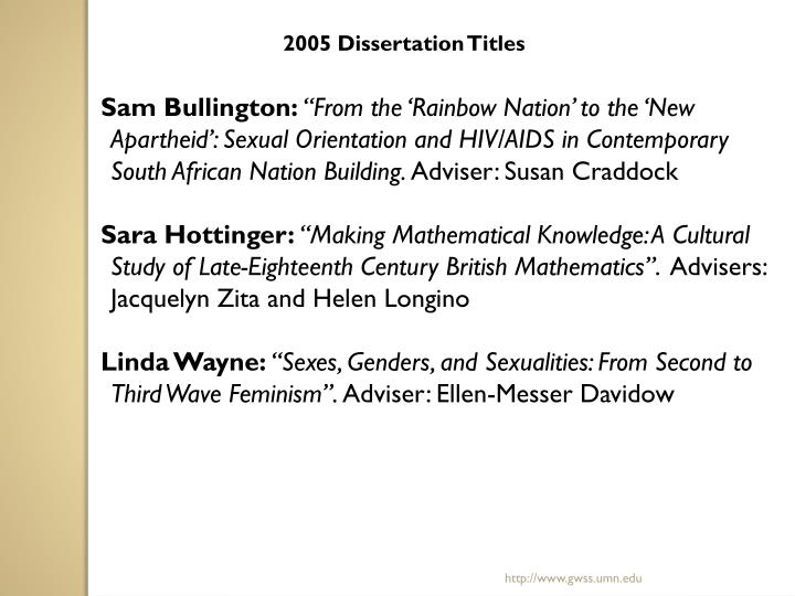 2005 Dissertation Titles