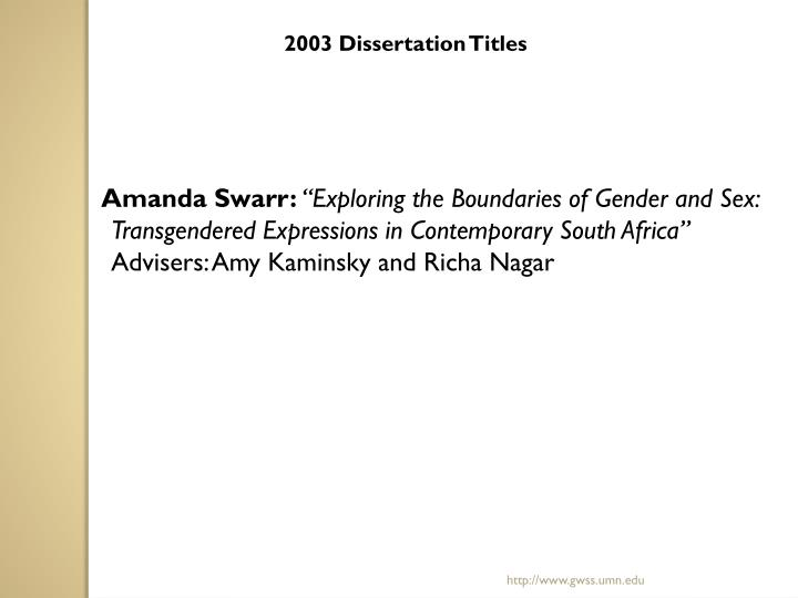 2003 Dissertation Titles
