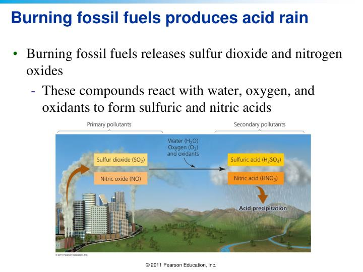 Burning fossil fuels produces acid rain