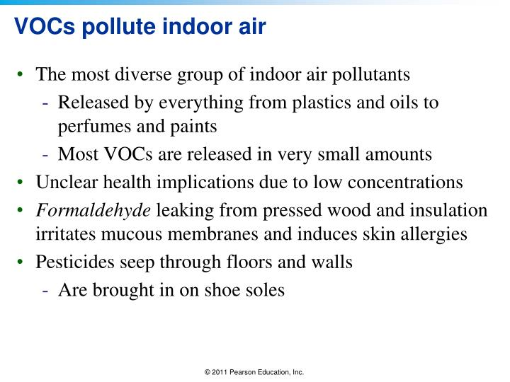 VOCs pollute indoor air
