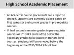 high school academic placement