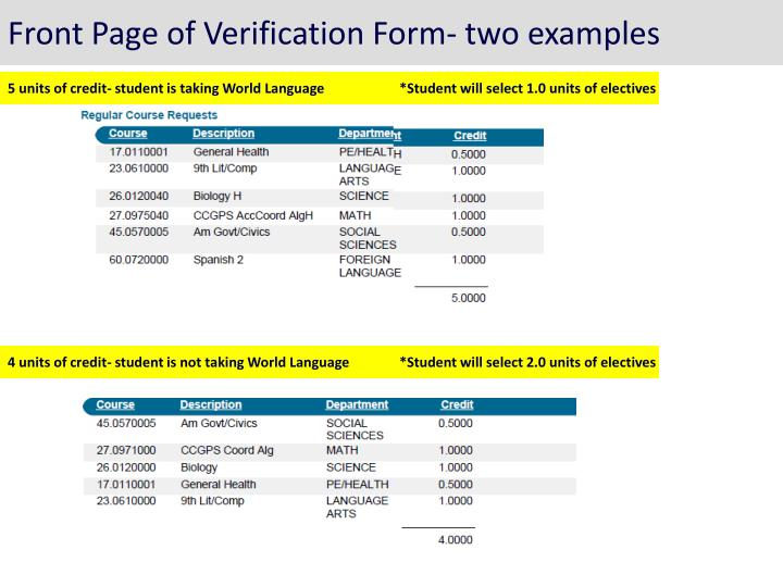 Front Page of Verification Form- two examples