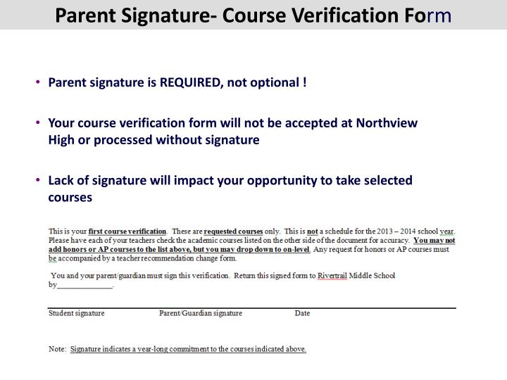 Parent Signature- Course Verification Fo