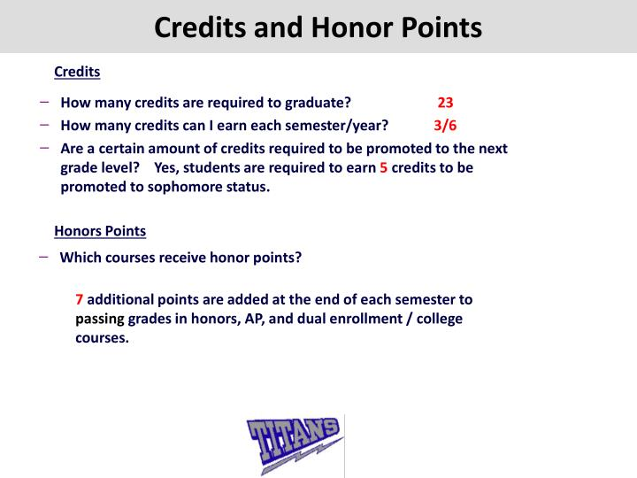 Credits and Honor Points