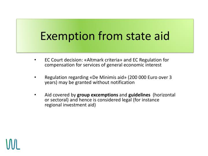 Exemption from state aid