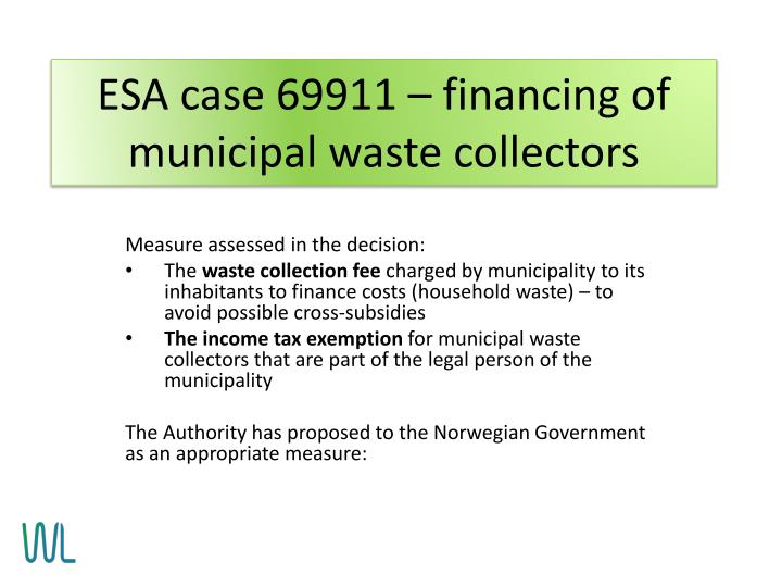 ESA case 69911 – financing of municipal waste collectors