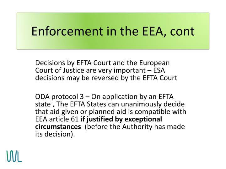 Enforcement in the EEA, cont
