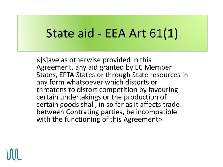 State aid - EEA Art 61(1)