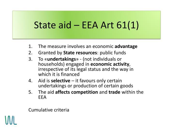 State aid – EEA Art 61(1)