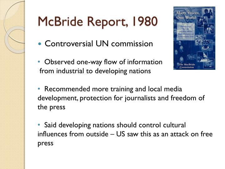 McBride Report, 1980