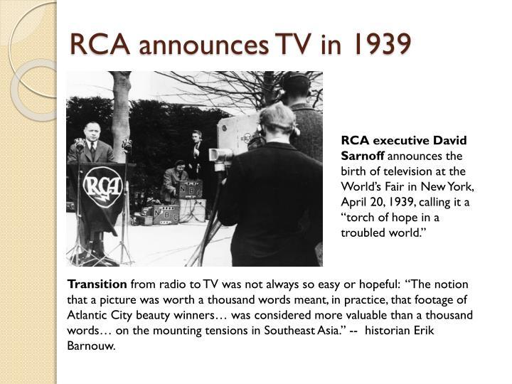 RCA announces TV in 1939