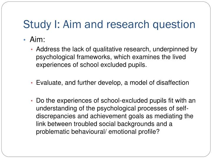 Study I: Aim and research question