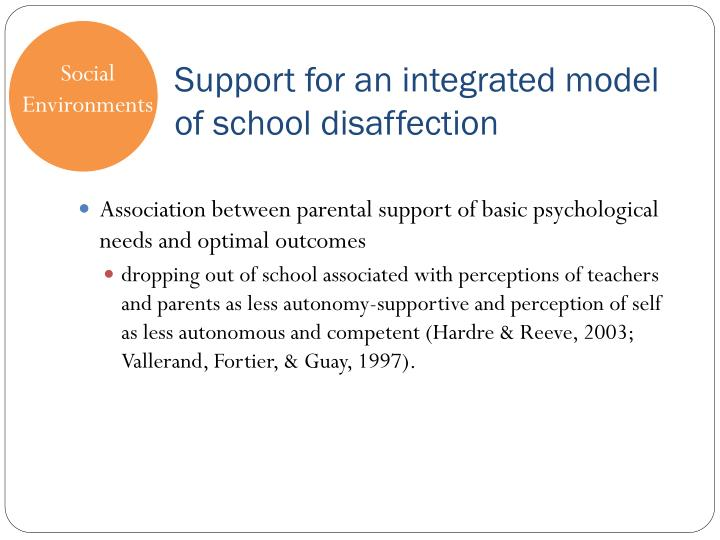 Support for an integrated model of school disaffection