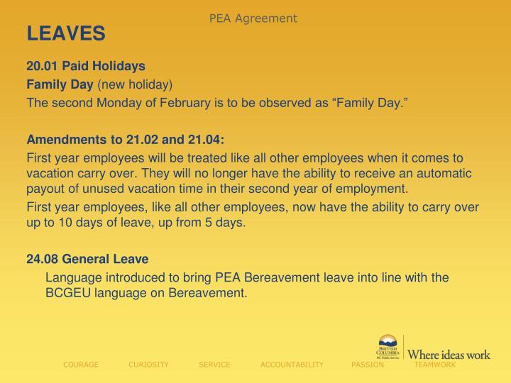 PEA Agreement